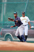 GCL Yankees East first baseman Starlin Paulino (6) during the first game of a doubleheader against the GCL Pirates on July 31, 2018 at Pirate City Complex in Bradenton, Florida.  GCL Yankees East defeated GCL Pirates 2-0.  (Mike Janes/Four Seam Images)