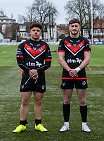 Oliver Leyland of London Broncos and Rian Horsman of London Broncos during the Betfred Challenge Cup match between London Broncos and York City Knights at The Rock, Rosslyn Park, London, England on 28 March 2021. Photo by Liam McAvoy.