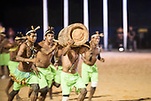 Kanela warriors participate in the Log Race, carrying a palm tree log, at the International Indigenous Games, in the city of Palmas, Tocantins State, Brazil. Photo © Sue Cunningham, pictures@scphotographic.com 24th October 2015