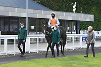 Winner of The Consign With Byerley Stud Handicap (Div 2)            Raha (orange) ridden by Dylan Hogan and trained by Julia Feilden is led into the Winners enclosure during Horse Racing at Salisbury Racecourse on 1st October 2020