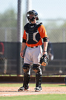 San Francisco Giants catcher Adam Sonabend (77) during an Instructional League game against the Milwaukee Brewers on October 10, 2014 at Maryvale Baseball Park Training Complex in Phoenix, Arizona.  (Mike Janes/Four Seam Images)