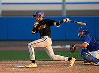 Montverde Academy Eagles Justin Colon (3) bats during a game against the IMG Academy Ascenders on April 8, 2021 at IMG Academy in Bradenton, Florida.  (Mike Janes/Four Seam Images)