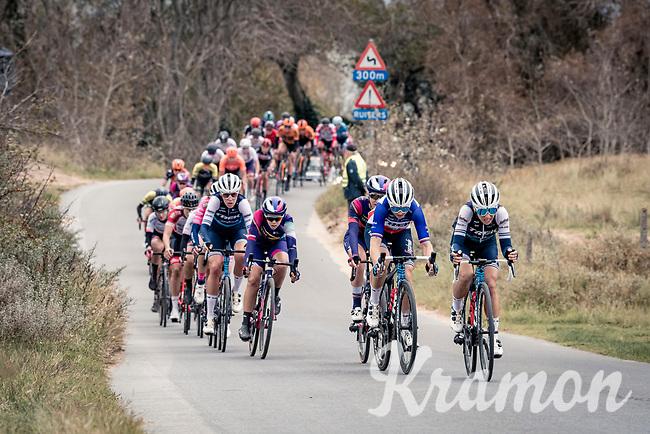 Audrey Cordon-Ragot (FRA/Trek-Segafredo) & Trixi Worrack (DEU/Trek-Segafredo) piloting the peloton through the dunes<br /> <br /> AG Driedaagse Brugge-De Panne 2020 (1.WWT)<br /> 1 day race from Brugge to De Panne (156km) <br /> <br /> ©kramon