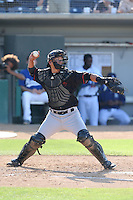 Carlton Tanabe (24) of the Bakersfield Blaze throws during a game against the Rancho Cucamonga Quakes at LoanMart Field on June 1, 2015 in Rancho Cucamonga, California. Rancho Cucamonga defeated Bakersfield, 5-2. (Larry Goren/Four Seam Images)