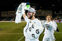 Notre Dame Fighting Irish forward Vince Cicciarelli (21) celebrates after the match. The Notre Dame Fighting Irish defeated the Maryland Terrapins 2-1 during the championship match of the division 1 2013 NCAA  Men's Soccer College Cup at PPL Park in Chester, PA, on December 15, 2013.