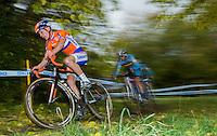 03 NOV 2012 - IPSWICH, GBR - Emiel Dolfsma (NED) (left) of the Netherlands leads Michael Vanthourenhout (BEL) of Belgium during the Under 23 Men's European Cyclo-Cross Championships in Chantry Park, Ipswich, Suffolk, Great Britain .(PHOTO (C) 2012 NIGEL FARROW)