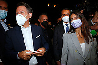 Former premier Giuseppe Conte, the mayor of Rome Virginia Raggi and the minister of foreign affairs Luigi Di Maio in a suburb in the east of Rome during the election campaign for the mayor of Rome. <br /> Rome (Italy), September 14th 2021<br /> Photo Samantha Zucchi Insidefoto