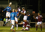 Nicky Clark heads in goal no 3 for Rangers at freezing Arbroath.