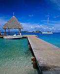 Bora Bora, French Polynesia   <br /> A Motu Taxi docked at pier in Taahina bay, Bora Bora lagoon