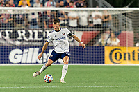FOXBOROUGH, MA - AUGUST 18: Frederic Brillant #13 of D.C. United passes the ball during a game between D.C. United and New England Revolution at Gillette Stadium on August 18, 2021 in Foxborough, Massachusetts.