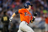 Cal State Fullerton Titans catcher A.J. Kennedy (10) sprints around first base during the NCAA College baseball World Series against the Vanderbilt Commodores on June 14, 2015 at TD Ameritrade Park in Omaha, Nebraska. The Titans were leading 3-0 in the bottom of the sixth inning when the game was suspended by rain. (Andrew Woolley/Four Seam Images)