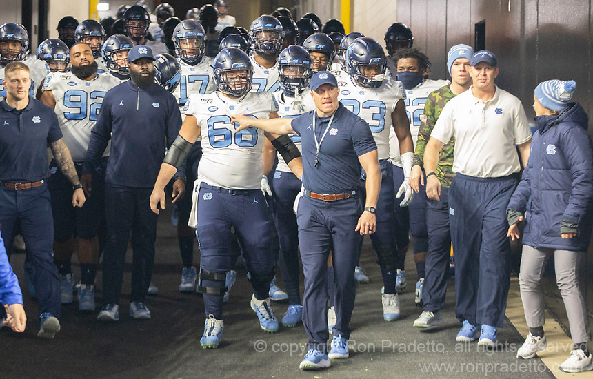 The North Carolina Tarheels led by (68) offensive lineman Brian Anderson get ready to take the field. The Pitt Panthers defeated the North Carolina Tarheels 34-27 in overtime in the football game on November 14, 2019 at Heinz Field, Pittsburgh, Pennsylvania.