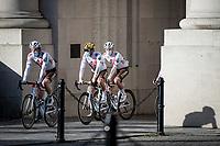 Greg Van Avermaet (BEL/AG2R Citroën) & Oliver Naesen (BEL/AG2R Citroën) under the Menin Gate War Memorial at the race start in Ypres<br /> <br /> 83rd Gent-Wevelgem - in Flanders Fields (ME - 1.UWT)<br /> 1 day race from Ieper to Wevelgem (BEL): 254km<br /> <br /> ©kramon