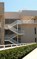 Richard Meier: The Getty Center. Detail--north wall of North Pavilion. Note: the use of glass brick.  Photo '99.