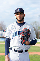 Lake County Captains pitcher Luis Oviedo (49) poses for a photo before a Midwest League game against the Beloit Snappers at Harry C. Pohlman Field on May 6, 2019 in Beloit, Wisconsin. (Zachary Lucy/Four Seam Images)