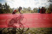 Sanne Cant (BEL/BKCP-Powerplus) leading the race<br /> <br /> GP Zonhoven 2014