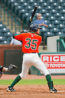 Viosergy Rosa (35) of the Greensboro Grasshoppers at bat against the Augusta GreenJackets at NewBridge Bank Park on August 11, 2013 in Greensboro, North Carolina.  The GreenJackets defeated the Grasshoppers 6-5 in game one of a double-header.  (Brian Westerholt/Four Seam Images)