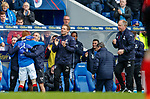 05.05.2018 Rangers v Kilmarnock: David Bates takes the acclaim after scoring from Rangers physios Alex MacQueen and Stevie Walker who helped him back to fitness