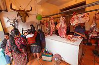 south America, Guatemala. Chichicastenango, butcher's shop