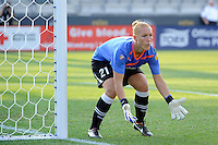 magicJack SC goalkeeper Jillian Loyden (21). The Philadelphia Independence defeated magicJack SC 2-0 during the Women's Professional Soccer (WPS) Super Semifinal at PPL Park in Chester, PA, on August 20, 2011.