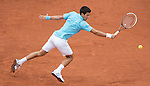 Novak Djokovic (SRB) leads Joao Sousa (POR) 6-1, 6-2,  after two sets and a rain delay at  Roland Garros being played at Stade Roland Garros in Paris, France on May 26, 2014