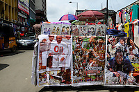 NIGERIA, City Lagos, roadside selling of motion pictures by the Nigerian film industry called Nollywood on DVD, nigerian movie Oil business and indian Bollywood movies