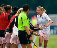 St Louis Athletica midfielder Amanda Cinalli (15) is congratulated by teammates after scoring a goal against Sky Blue FC during a WPS match at Anheuser-Busch Soccer Park, in St. Louis, MO, June 7, 2009. Athletica won the match 1-0.