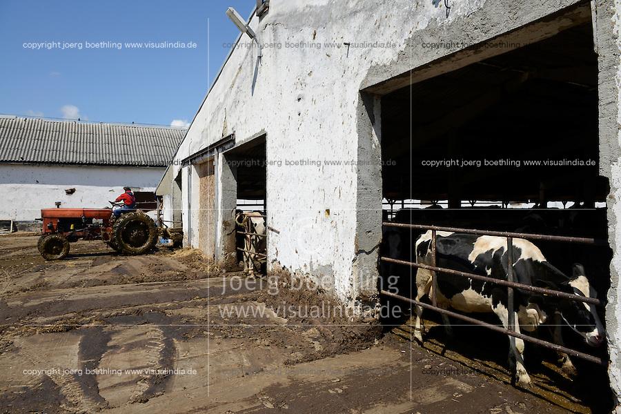 ROMANIA Transilvania, Voila, milk cow farm of CarmOlimp / RUMAENIEN Siebenbuergen, Voila, Milchviehbetrieb CarmOlimp, rumaenischer Traktor UTB