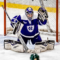 16 February 2019: Holy Cross Crusader Goaltender Julia Pelletier, a Sophomore from Pelham, NH, makes a third period save against the University of Vermont Catamounts at Gutterson Fieldhouse in Burlington, Vermont. The Lady Cats defeated the Crusaders 4-1 to sweep their 2-game weekend series. Mandatory Credit: Ed Wolfstein Photo *** RAW (NEF) Image File Available ***