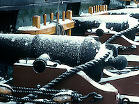 USS Constitution guns, snow, Charlestown, MA