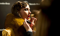 Anastasia Lagune poses<br /> Isabel Nunez's show during the MBFW Madrid (Mercedes Benz Fashion Week Madrid) Autumn/Winter at IFEMA in Madrid on January 28, 2018.