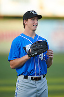 Hudson Valley Renegades outfielder Joe McCarthy (43) warms up before a game against the Vermont Lake Monsters on September 3, 2015 at Centennial Field in Burlington, Vermont.  Vermont defeated Hudson Valley 4-1.  (Mike Janes/Four Seam Images)