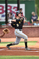 Bristol Pirates center fielder Garrett Brown (3) swings at a pitch during a game against the Elizabethton Twins at Joe O'Brien Field on July 30, 2016 in Elizabethton, Tennessee. The Twins defeated the Pirates 6-3. (Tony Farlow/Four Seam Images)
