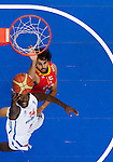 11.09.2011, Vilnius Arena, Vilnius, LTU, FIBA EuroBasket 2011, Frankreich vs Spanien, im Bild Steed Tchicamboud of France vs Victor Sada of Spain during basketball game between National basketball teams of France and Spain at FIBA Europe Eurobasket Lithuania 2011, on September 11, 2011, in Siemens Arena,  Vilnius, Lithuania. Spain defeated France 96-69.. EXPA Pictures © 2011, PhotoCredit: EXPA/ Sportida/ Vid Ponikvar  +++++ ATTENTION - OUT OF SLOVENIA/(SLO) +++++