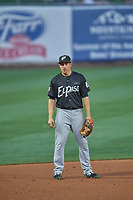Seth Mejias-Brean (17) third baseman of the El Paso Chihuahuas on defense against the Salt Lake Bees at Smith's Ballpark on August 17, 2019 in Salt Lake City, Utah. The Bees defeated the Chihuahuas 5-4. (Stephen Smith/Four Seam Images)