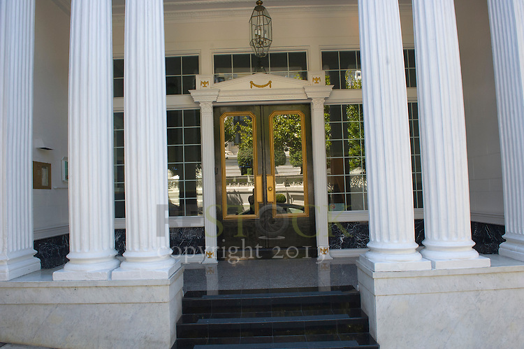Glass Door with White Pillars