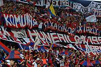MEDELLÍN-COLOMBIA, 24-04-2019: Hinchas de Deportivo Independiente Medellín, animan a su equipo durante partido aplazado de la fecha 10 entre Atlético Nacional y Deportivo Independiente Medellín, por la Liga Águila I 2019, jugado en el estadio Atanasio Girardot de la ciudad de Medellín. / Fans of Deportivo Independiente Medellín, cheer for their team during a posponed match of the 10th date between Atletico Nacional and Deportivo Independiente Medellin, for the Aguila Leguaje I 2019 played at the Atanasio Girardot Stadium in Medellin city. / Photo: VizzorImage / León Monsalve / Cont.