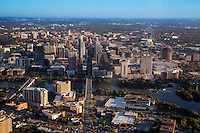 Beautiful aerial view from a helicopter of Congress Avenue leading to the Texas State Capitol and booming downtown Austin skyline.