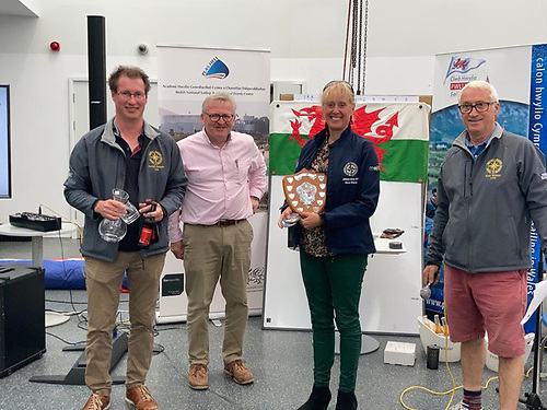 Peter Dunlop andVicky Cox's J109 Mojito were winners of the Tremadog Bay 'pop up' Regatta in North Wales. Pictured from left to right are Peter Dunlop, Stephen Tudor, Hon Sec in Pwllheli and ISORA, Vicky Cox and Mark Thompson, Vice Commodore in Pwllheli SC and a member of the ISORA management committee
