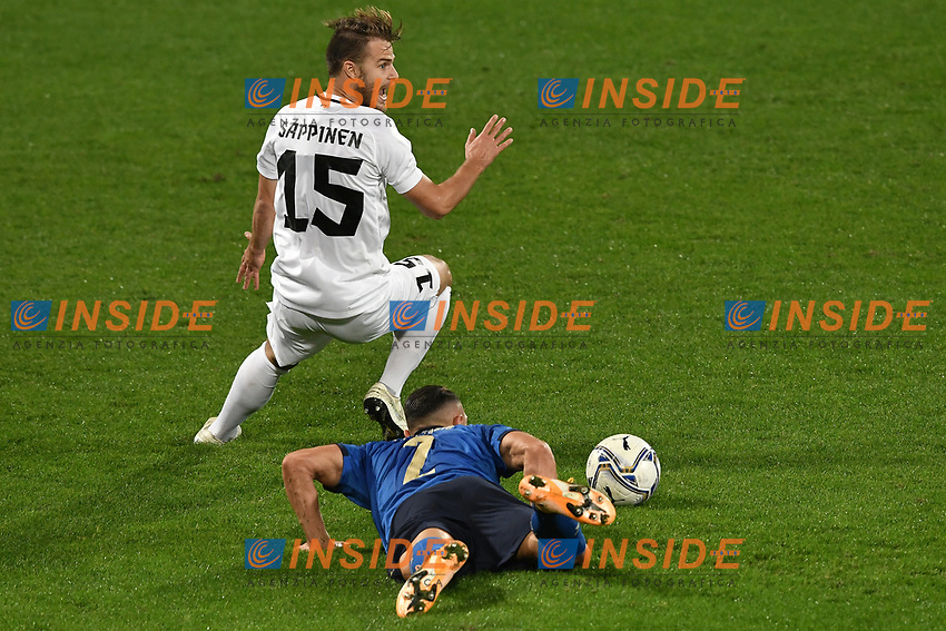 Danilo D'Ambrosio of Italy and Rauno Sappinen of Estonia compete for the ball during the friendly football match between Italy and Estonia at Artemio Franchi Stadium in Firenze (Italy), November, 11th 2020. Photo Andrea Staccioli/ Insidefoto