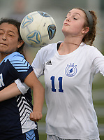 Rogers' Allison Golden (11) and Springdale Har-Ber's Alondra Barron vie for control of the ball Tuesday, April 27, 2021, during the first half of play at Wildcat Stadium in Springdale. Visit nwaonline.com/210428Daily/ for today's photo gallery. <br /> (NWA Democrat-Gazette/Andy Shupe)