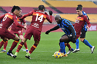 Romelu Lukaku of FC Internazionale compete for the ball with Chris Smalling, Gonzalo Villar and Gianluca Mancini of AS Roma during the Serie A football match between AS Roma and FC Internazionale at Olimpico stadium in Roma (Italy), January 10th, 2021. Photo Andrea Staccioli / Insidefoto