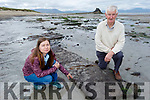 Donal Dowling with geologist Gosia Shaikh Horajska on the site of the exposed bog on Banna Beach between the Black Rock and the Small Rock on Tuesday.