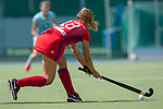 GER - Mannheim, Germany, May 05: During the women field hockey 1. Bundesliga match between Mannheimer HC (red) and Uhlenhorster HC Hamburg (light blue) on May 5, 2018 at Am Neckarkanal in Mannheim, Germany. Final score 1-3. (Photo by Dirk Markgraf / www.265-images.com) *** Local caption *** Florencia Habif #18 of Mannheimer HC