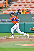 Clemson Tigers first baseman Bryar Hawkins (44) swings at a pitch during a game against the North Carolina Tar Heels at Doug Kingsmore Stadium on March 9, 2019 in Clemson, South Carolina. The Tigers defeated the Tar Heels 3-2 in game one of a double header. (Tony Farlow/Four Seam Images)