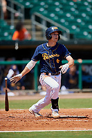 Montgomery Biscuits second baseman Brandon Lowe (6) follows through on a swing during a game against the Biloxi Shuckers on May 8, 2018 at Montgomery Riverwalk Stadium in Montgomery, Alabama.  Montgomery defeated Biloxi 10-5.  (Mike Janes/Four Seam Images)
