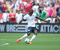 Jozy Altidore (17) of the USMNT takes a shot during the game at RFK Stadium in Washington DC.  The USMNT defeated Germany, 4-3, in a friendly match.