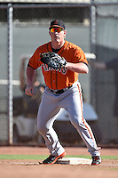 San Francisco Giants first baseman Skyler Ewing (26) during an Instructional League game against the Milwaukee Brewers on October 10, 2014 at Maryvale Baseball Park Training Complex in Phoenix, Arizona.  (Mike Janes/Four Seam Images)