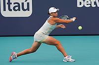 3rd April 2021; Miami Gardens, Miami, Florida, USA;   Ashleigh Barty (AUS) hits a backhand during the women's finals of the Miami Open on April 3, 2021, at Hard Rock Stadium in Miami Gardens, Florida.