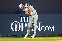 160719 | The 148th Open - Tuesday Practice<br /> <br /> Dustin Johnson of USA on the first tee during practice for the 148th Open Championship at Royal Portrush Golf Club, County Antrim, Northern Ireland. Photo by John Dickson - DICKSONDIGITAL